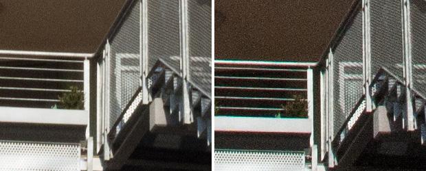 Vergleich Rauschen zweier Kameras bei ISO 1600